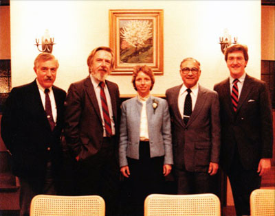 Rev. Jane Rzepka became our first female minister in 1984. Pictured here with four prior ministers. L to R: Bruno Visco (1958-1966), Richard Woodman (1974-1983), Jane Rzepka (1984-1999), John Skeirik (1967-1973), Jon Luopa (1983-1984).