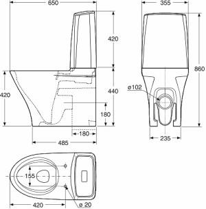 IDO GLOW 64 WC-istuin mittakuva