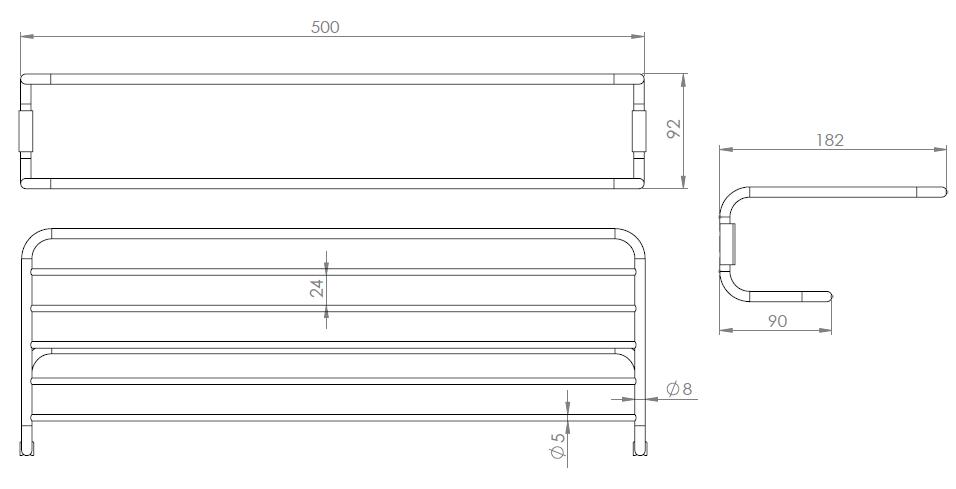 Hietakari-Sandriff Fil Leveä Pyyheteline mittakuva