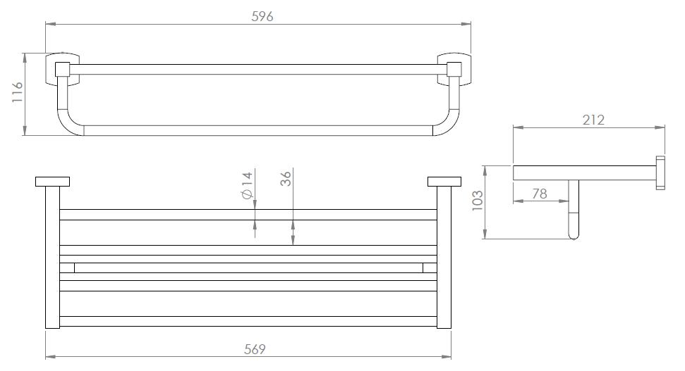 Hietakari-Sandriff Melange Leveä Pyyhteline mittakuva