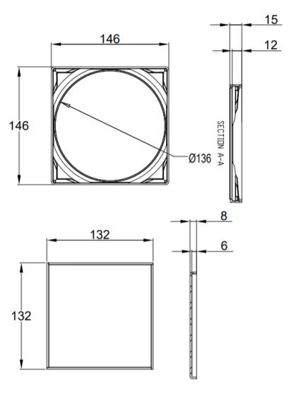 Vieser Flip laatoitettava lattiakaivojärjestelmä mittakuva