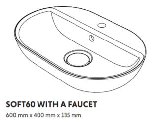 Woodio Soft60 Malja-Allas hanapaikalla seinäkiinnitys mitat