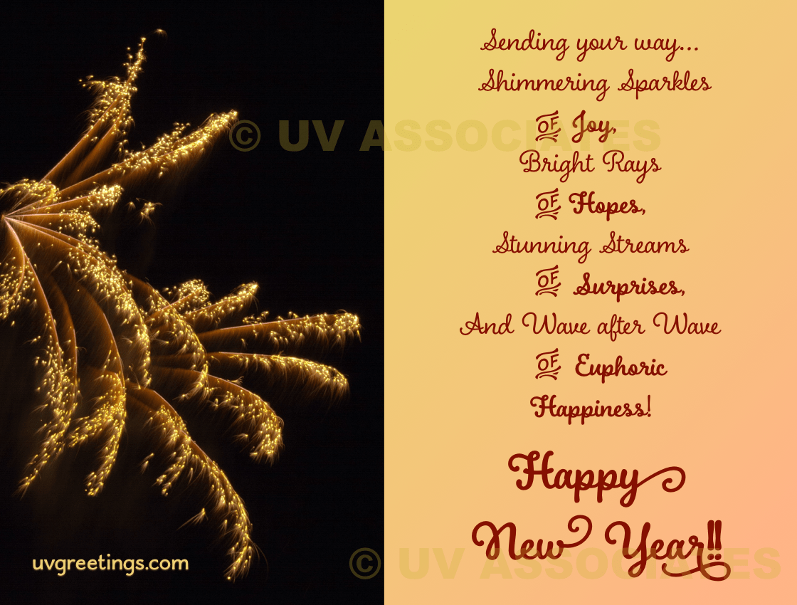New Year   UVGreetings New Year Greeting featuring Fireworks and Meaningful Verse