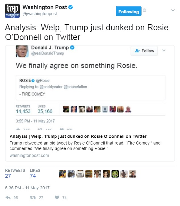 "Washington Post analysis headline reads, ""Analysis: Welp, Trump just dunked on Rosie O'Donnell on Twitter"""