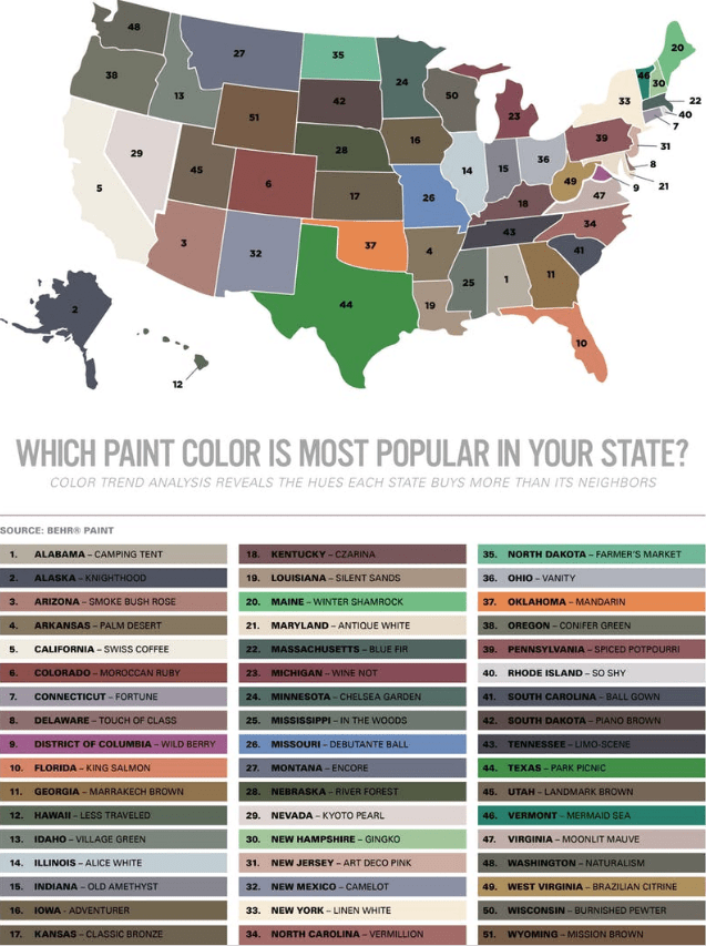 The most popular paint colors in all 50 states. (Source: Behr Paint)