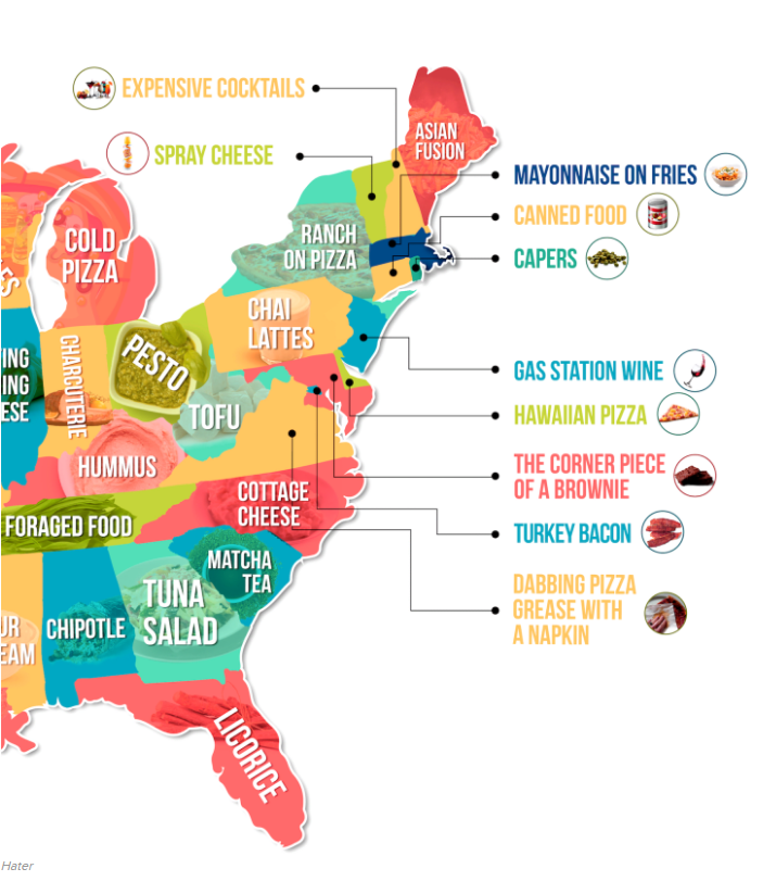 "The Eastern U.S. ""Hate Map,"" food edition. (Courtesy Hater, via Buzzfeed)"
