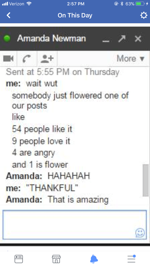 A screenshot of a screenshot of a GChat conversation, originally courtesy of Maggie, that took place between us one year ago.