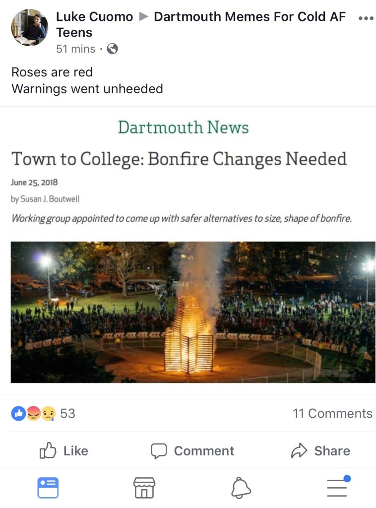A screenshot of a Monday, June 25, 2018, post in the Facebook group Dartmouth Memes for Cold AF Teens.