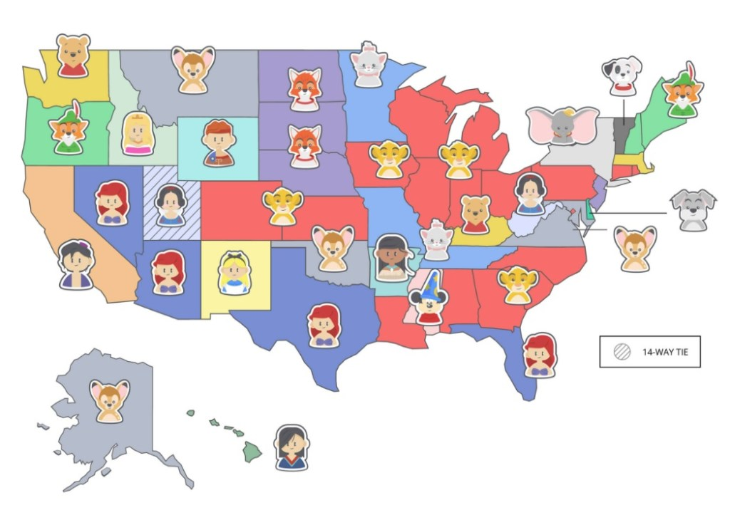 An infographic crated by cabletv.com showing what the most popular animated Disney movie is in each of the 50 states.