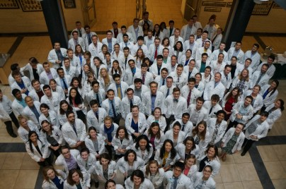 Medical students get ready for the 9/23 naming announcement.