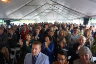 The crowd gathered in a tent outside the Given building for the 9/23 naming announcement.