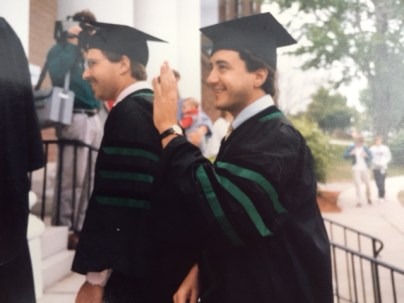 Michael Kaplan, M.D., heading into Ira Allen Chapel to graduate from the College of Medicine in 1987.