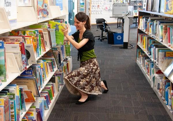 Librarian, Heather Buhler, works at Bingham Creek Library