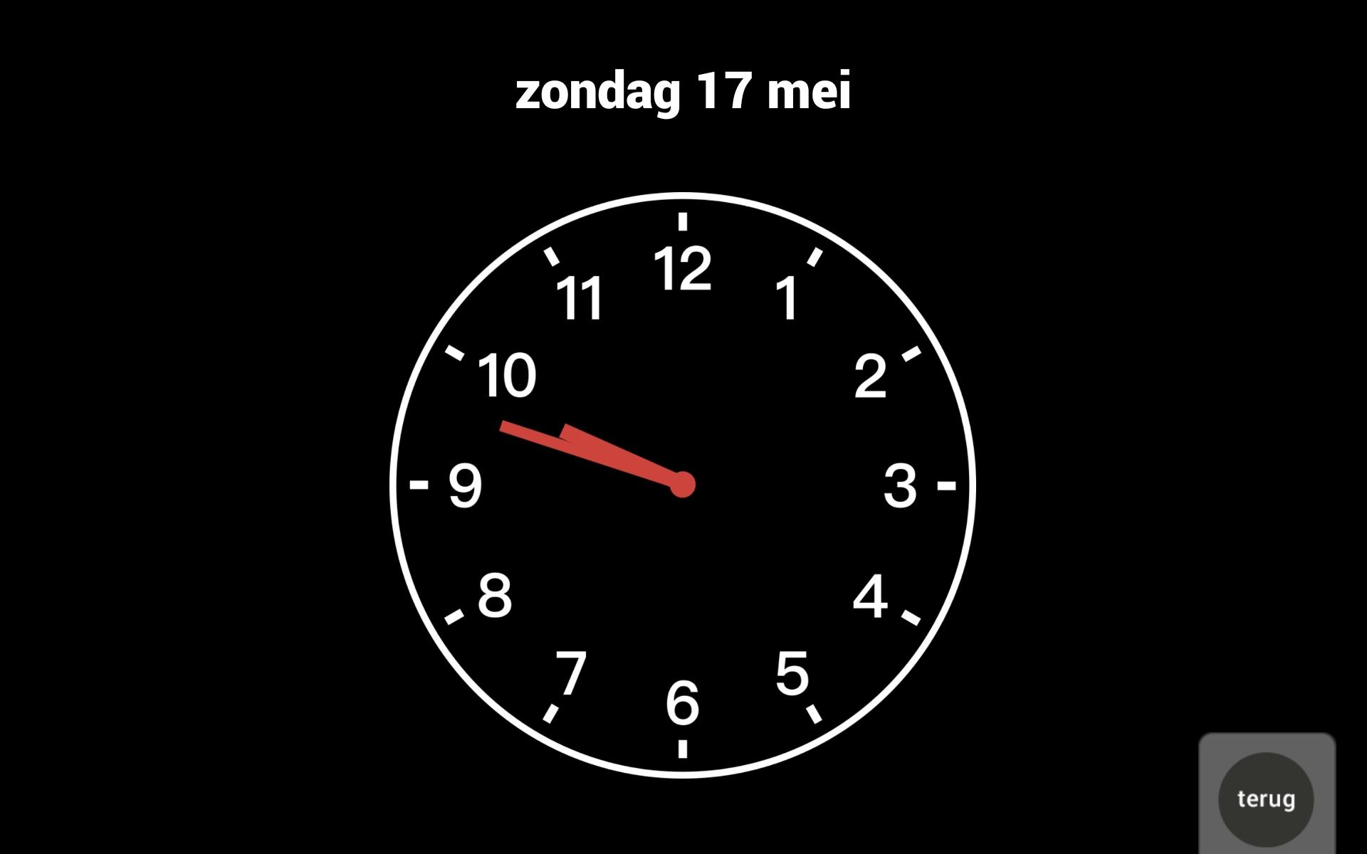 Klok en datum op tablet