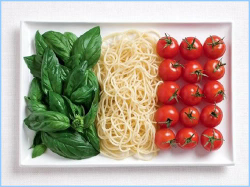 Green basil. White pasta. Red tomatoes.
