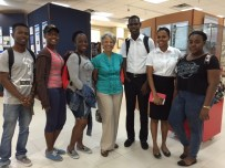Professor Emerita Leo-Rhynie with some students in the University Museum...