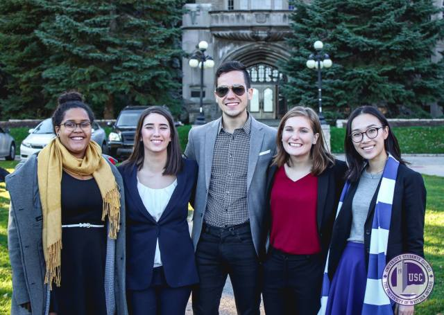 From left to right: Delegates Danielle Pierre, Sarah Wiley, Antonio Brieva, Julia Wood and Meg Hsu were authors of OUSA's sexual violence prevention policy.  Photo courtesy Emily Ross.