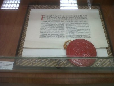 Royal Charter granted to the independent, degree-granting University of the West Indies in 1962, replacing the 1949 University College of the West Indies (UCWI) Charter (Collection of the UWI Library. On display at the UWI Museum)
