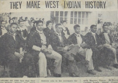 First UCWI graduates in their black London gowns. Gleaner clipping 1953.