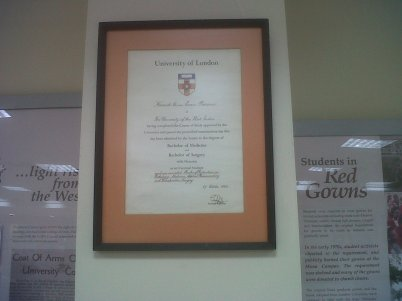 University of the West Indies/University of London 1964 certificate - gift of the family of Prof Kenrick Orrin Barrow.