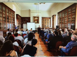 UWI Museum Curator delivers the lecture at the Garrison Library in Gibraltar.