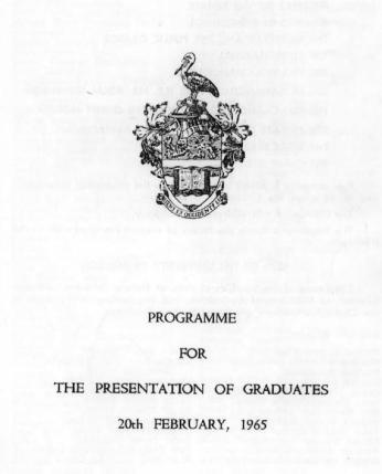 Programme for Presentation of Graduates who completed their degrees in 1964, in February 1965