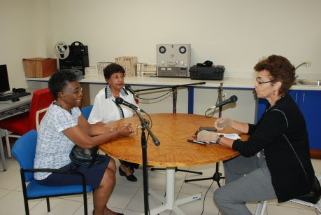 Alumni Dahlia Patterson Reidel and Corinne Ford McLarty being interviewed by Curator Suzanne Francis-Brown in November