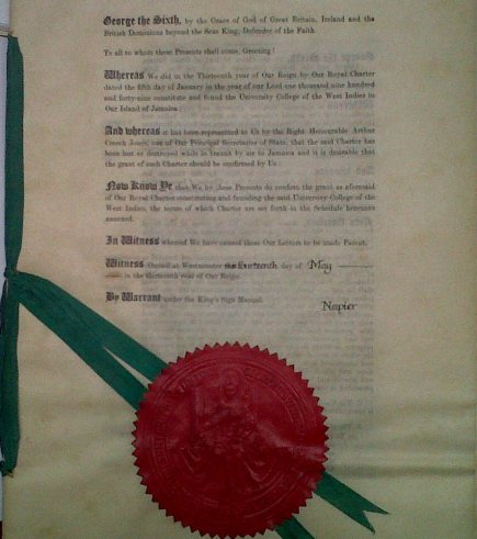 UCWI Letters Patent document sealed by King George VI, replaced the original Charter document in 1949