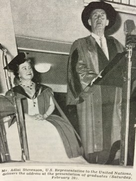Queen Elizabeth, the Queen Mother in the new UWI regalia for Honorary Graduands; and US Representative Hon Adlai Stevenson who gave the guest address at the ceremony. (Photo from The Pelican magazine)