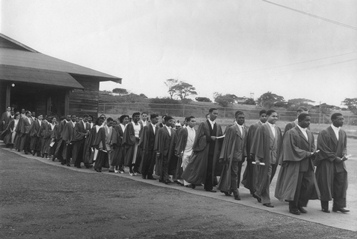 UCWI Students processing to installation 1950 from RobertLancashire Apr2014 kem_Inst1b small