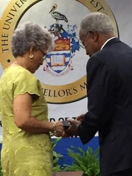 Prof Leo-Rhynie and Chancellor Alleyne