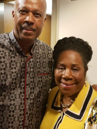 Professor Sir Hilary Beckles with Congresswoman Sheila Jackson Lee.