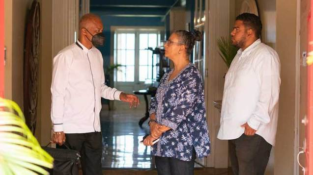 Vice-Chancellor of The UWI, Professor Sir Hilary Beckles meets with Head, Open Campus Country Site, Mrs. Deborah Dalrymple and staff of the Open Campus in Saint Vincent and the Grenadines on May 14, 2021.