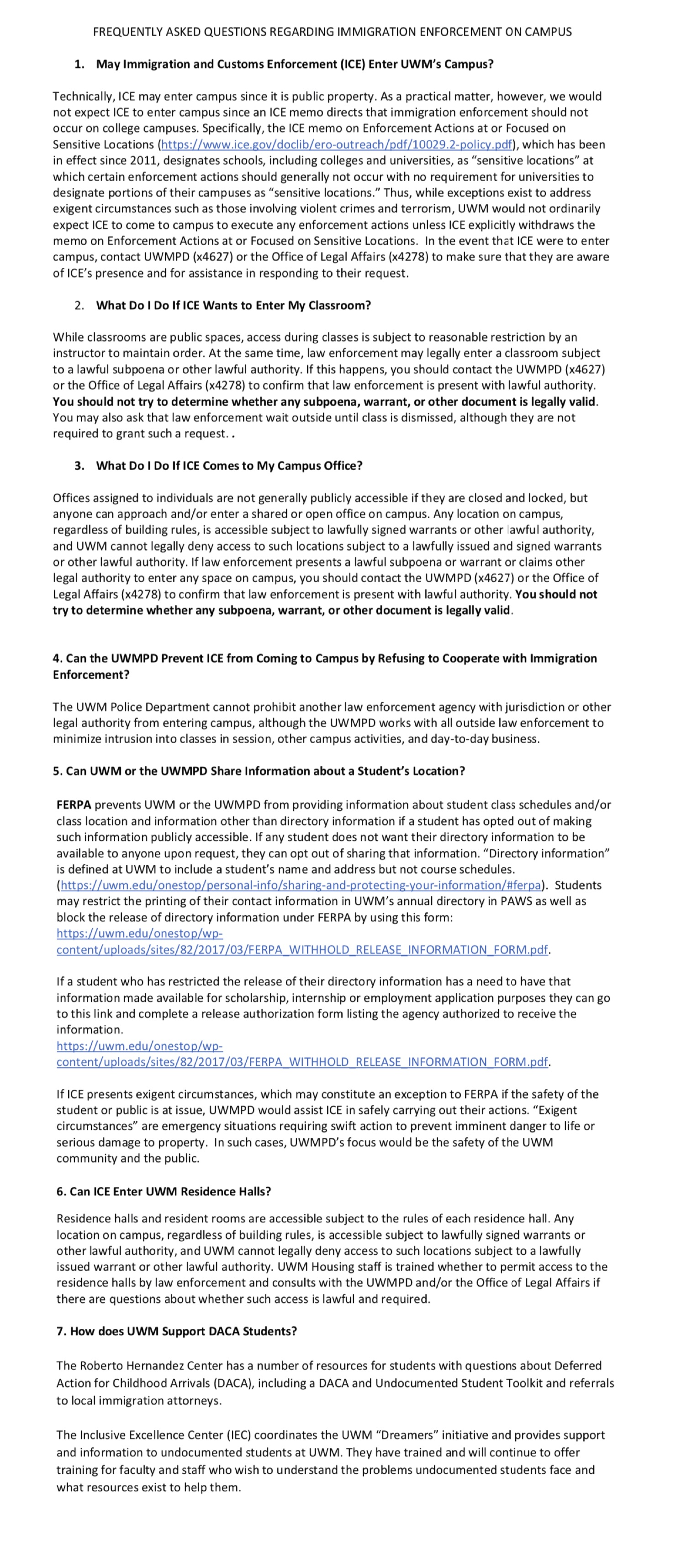 Uw Milwaukee Outline Of Policies Impacting Immigrant And