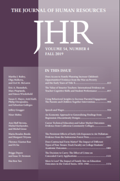 Journal of Human Resources Fall 2019 current issue cover