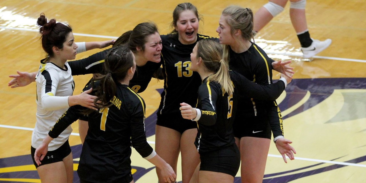 Volleyball comeback falls short in UMAC semis; Five players earn All-UMAC honors