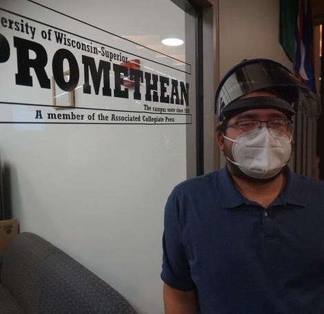 Jean Germano wearing a mask