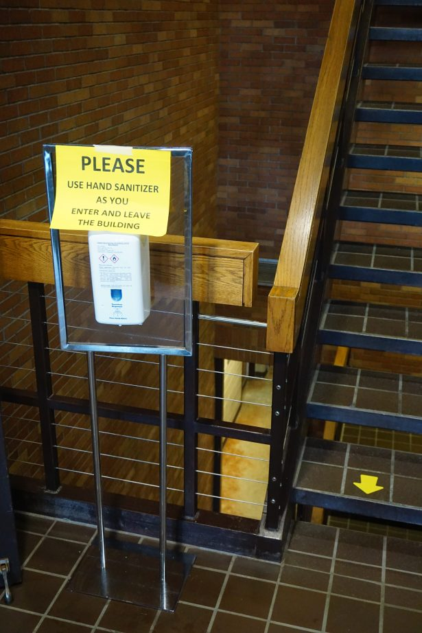 Please use hand sanitizer as you enter and leave the building