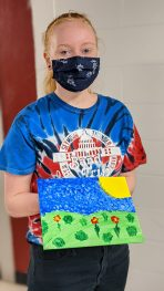 """Artwork created by students during the """"Bad Art Night"""" floor program"""