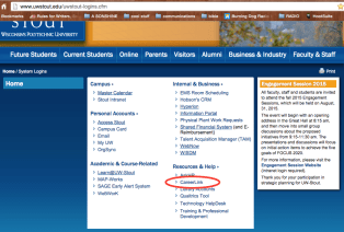 "Go to ""Logins"" at the top of the UW-Stout website. Click ""CareerLink."""