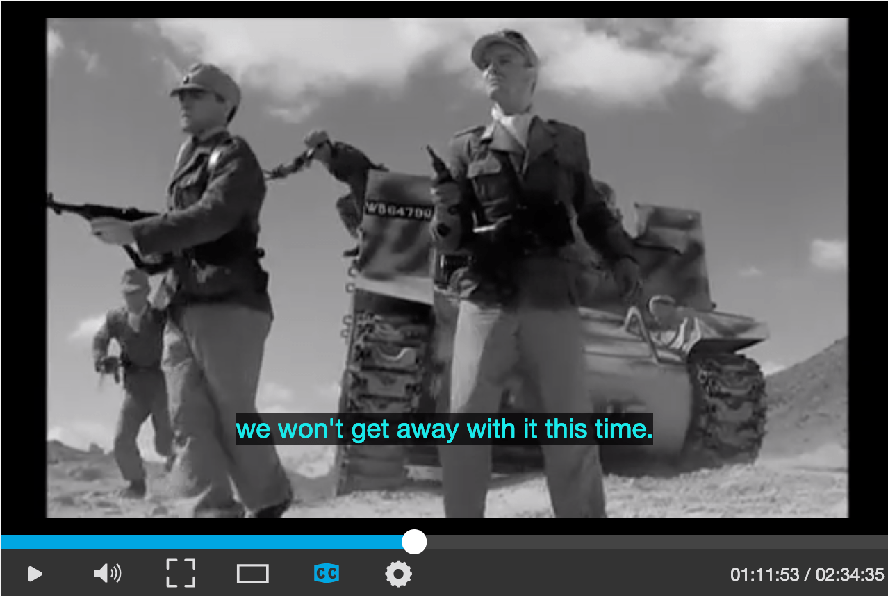 Example of subtitles in a video