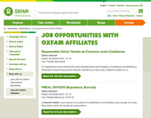 Oxfam jobs - level 1