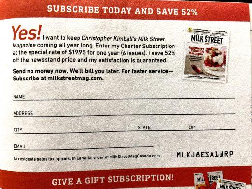 milk street subscription card