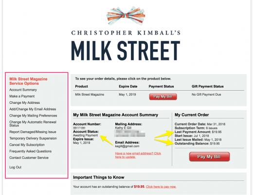 milk street subscription login