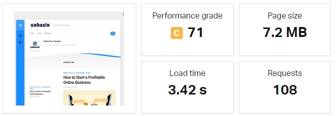 Pingdom Tool Page Speed Result Before Optimisation