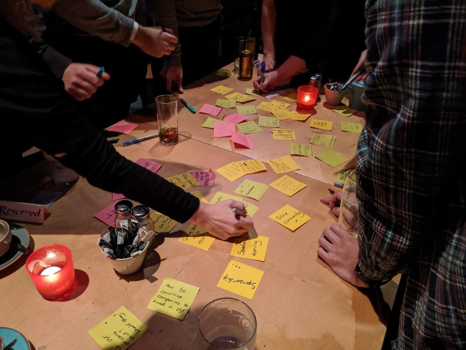 table with lots of sticky notes on it and people around it writing new notes
