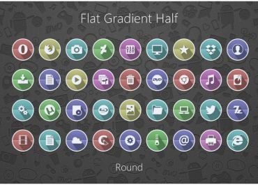 Flat Gradient Half Round Icon