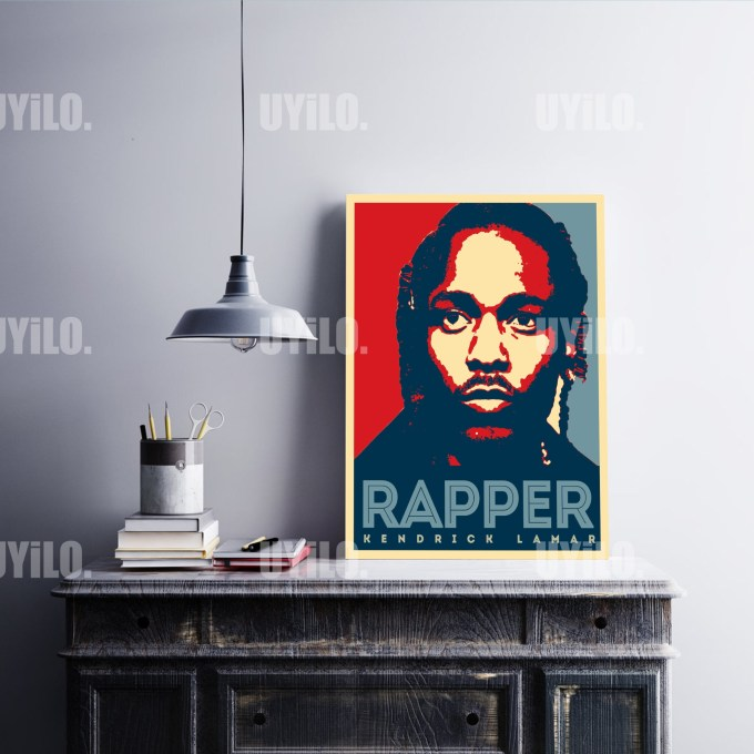 Kendrick Lamar in the style of the iconic Barack Obama Hope Poster