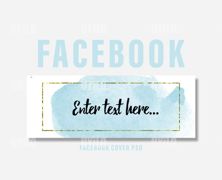 Facebook Cover Template Watercolor Blue Color