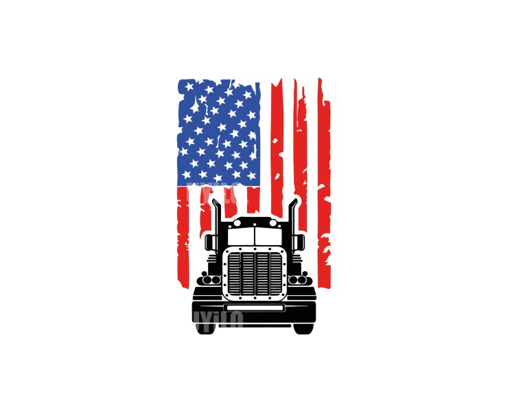 American Flag Trucker Instant Download in several files